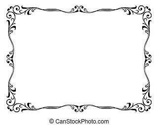 vettore, floreale, ornamentale, decorativo, cornice