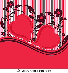 vettore, floreale, ornamento, cuori, illustrazione, due