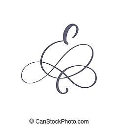 vettore, floreale, turbini, lettera, mano, monogram, o, matrimonio, disegno, calligraphic, curl., disegnato, maiuscolo, logo., iscrizione, e