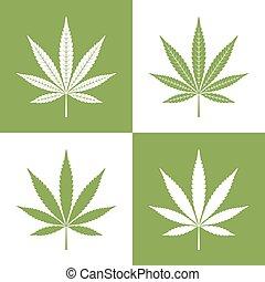 vettore, foglia, marijuana, icone