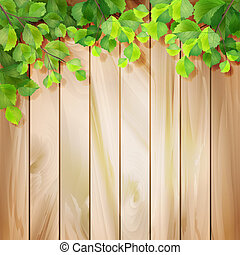 vettore, foglie, legno, sfondo verde, texture.