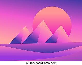 vettore, fondo., cartoline, desert., piramidi, gradients., manifesto, deserto, dune, vista, fondo, paesaggio, egiziano, colorito, banner., illustrazione, tramonto, pubblicità