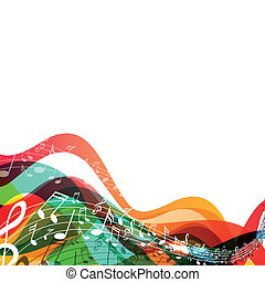 vettore, fondo, con, note musica