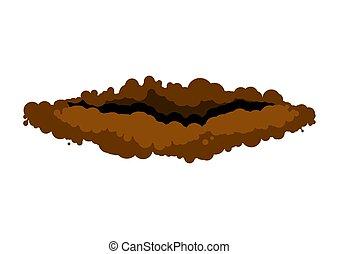vettore, fondo., cunicolo, roditore, groundhog, bianco, tana, ground., illustrazione
