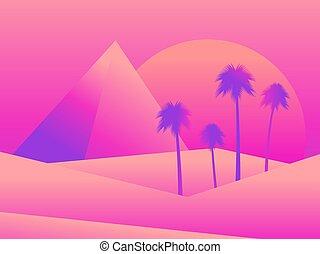 vettore, fondo., deserto palma, dune, vista, egiziano, colorito, banner., manifesto, albero, pubblicità, desert., piramidi, fondo, gradients., paesaggio, illustrazione, tramonto