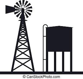 vettore, fondo, di, rurale, windpump, e, serbatoio acqua