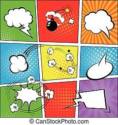 vettore, fondo, discorso, comic strip, bolle, illustrazione