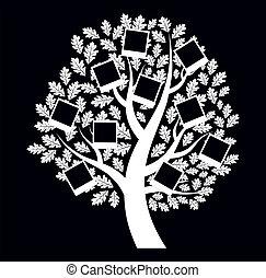vettore, fondo, famiglia nera, albero, genealogical