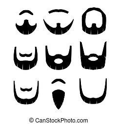 vettore, fondo, isolato, set, bianco, barba, illustration.