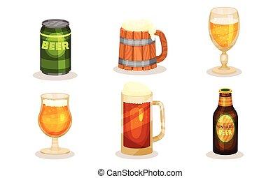 vettore, fondo., lattine, bottiglie, illustrazione, bianco, mugs., scuro, birra, luce