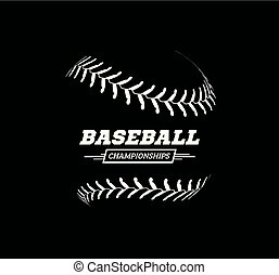 vettore, fondo., palla, baseball, nero