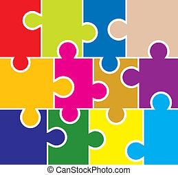 vettore, fondo, puzzle, elementi, disegno