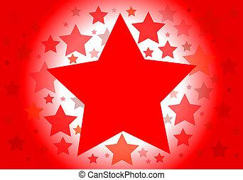 vettore, fondo, rosso, stelle