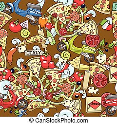 vettore, fondo, seamless, illustrazione, pizza