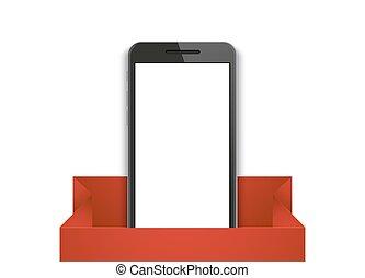 vettore, fondo., smartphone, moderno, regalo