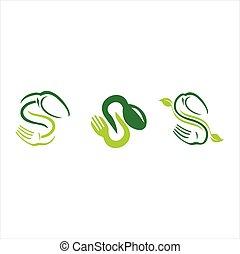 vettore, forchetta, set, astratto, logotipo, forma, cucchiaio, s, lettera, coltelleria, icona