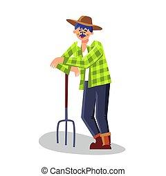 vettore, forcone, apparecchiatura, standing, contadino, illustrazione