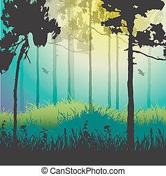 vettore, foresta verde, illustrazione