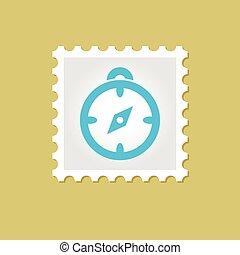 vettore, francobollo, bussola
