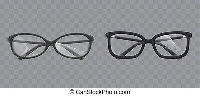 vettore, frantumato, realistico, occhiali, vetro