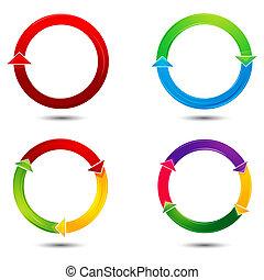 vettore, frecce, colorito