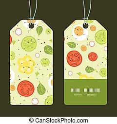 vettore, fresco, insalata, striscia verticale, cornice, modello, etichette, set