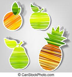 vettore, fresco, set, stickers., frutta