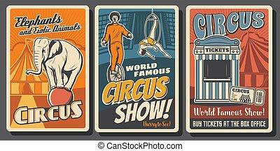 vettore, funfair, retro, circo, manifesti, esecutori