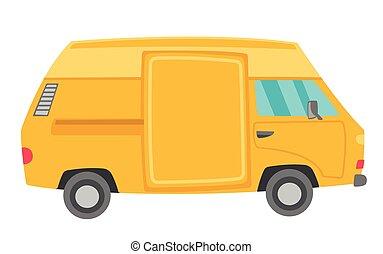 vettore, furgone, cartone animato, giallo, illustration.
