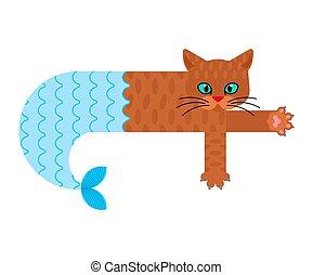 vettore, gatto, illustrazione, pet., sirena, isolated., mare