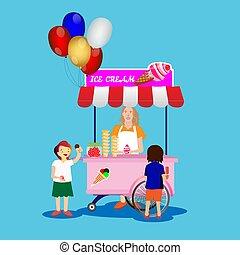 vettore, gelato, acquisto, illustrazione, stand., bambini