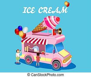 vettore, gelato, acquisto, illustrazione, stare in piedi, bambini