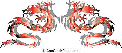 vettore, gemelli, dragons., illustrazione