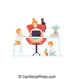 vettore, genitore lavorante, lei, lei, donna d'affari, laptop, seduta, giovane, illustrazione, prossimo, madre, figli, computer, freelancer, scrivania, bambini, gioco, mamma