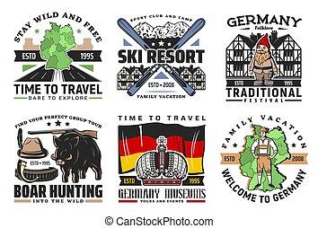 vettore, germania, icone, viaggiare turismo