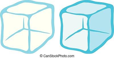 vettore, ghiaccio, illustrazione, cubi