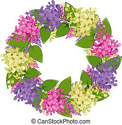 vettore, ghirlanda, lilla, ramoscelli