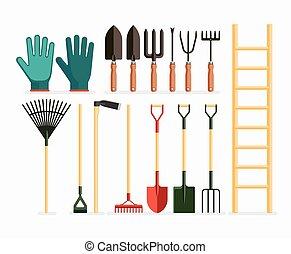 vettore, giardinaggio, design., set, items., appartamento, illustrazione, attrezzi, giardino