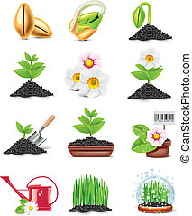 vettore, giardinaggio, icona, set