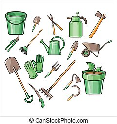 vettore, giardinaggio, set, attrezzi, illustrazione