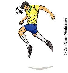 vettore, giocatore, calcio, illustrazione