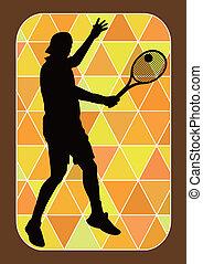 vettore, giocatore, silhouette, tennis, -