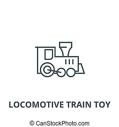 vettore, giocattolo, lineare, concetto, simbolo, segno, treno, icona, linea, locomotiva, contorno