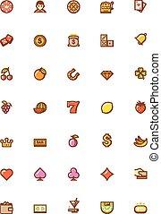 vettore, gioco, icona, set