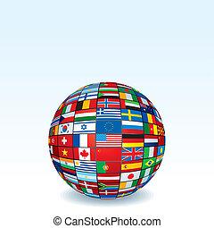 vettore, globo mondo, fatto, bandiere