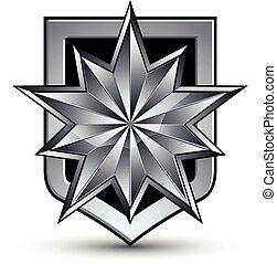 vettore, glorioso, lucido, disegnare elemento, con, lusso, 3d, inargentare stella, argenteo, concettuale, grafico, sagoma, chiaro, eps, 8, complicato, shield.