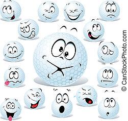 vettore, golf, cartone animato, palla