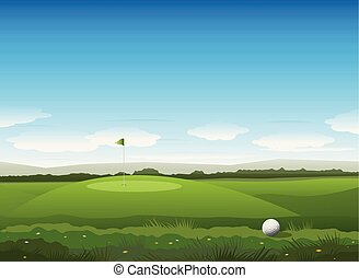 vettore, golf, fondo, natura