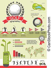 vettore, golf, infographics