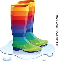 vettore, gomme, stivali, in, colori arcobaleno